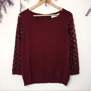 Sparrow Burgundy Sheer Polkadot Sleeve Sweater